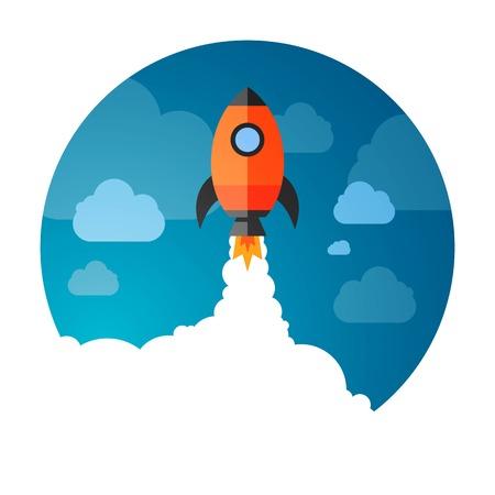 illustration of a Business Start-Up Rocket Space Exploration