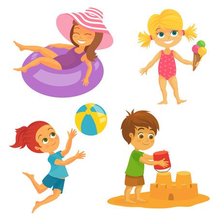 Illustratie van Happy Kids at the Beach plezier