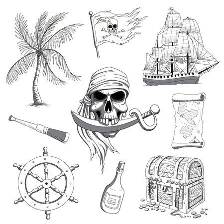 Illustration of Hand Drawn Pirate Design Elements