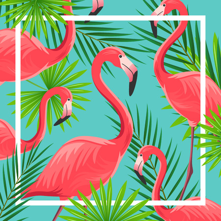 Illustration of an Abstract Background with Flamingos
