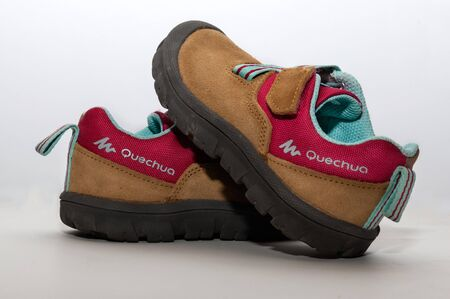 BARCELONA , SPAIN , NOVEMBER 22, 2015: pair of hiking shoes for children who want to go for a walk
