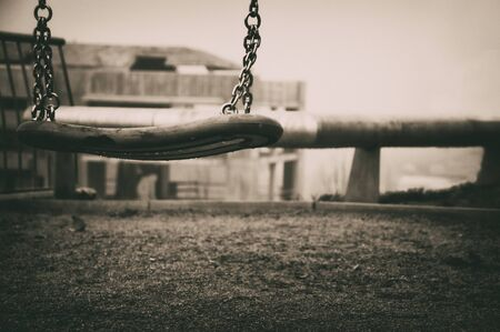 Black and white solitary swing, selective focus