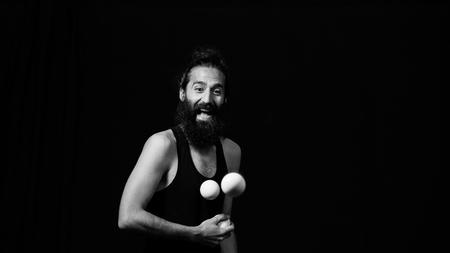 juggler: Juggler having fun making his performance at the circus