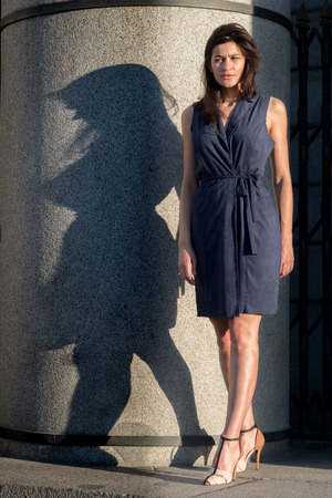 woman shadow: Beautiful and slim woman with a curvy shadow (diet concept) Stock Photo