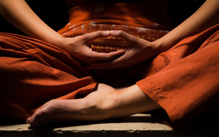 Meditation, looking for enlightenment. Mindfulness concept. 스톡 콘텐츠