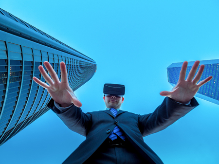 influential: The leader of business in cyberspace and virtual reality. Powerful and influential people trough business and technology concept. Stock Photo