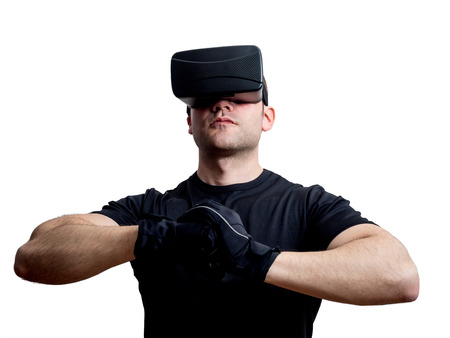 Virtual reality champion gamer ready to fight in cyberspace isolated on white background. Futuristic console gaming concept.