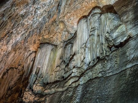 Stalactite wall in Valporqueros cave (Spain)
