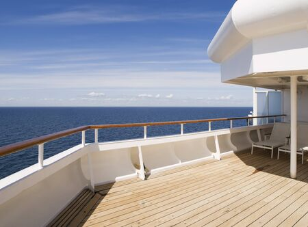 Deck of a cruise on a sunny day  A place without any person  photo