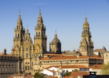 Cathedral of Santiago de Compostela in Galicia, Spain..Cathedral of Santiago de Compostela in Galicia, Spain. In the photo highlights the main towers of the beautiful Gothic building.  photo