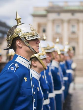 STOCKHOLM, SWEDEN - MAY 12  Swedish Royal Guard at the Royal Palace Square in Stockholm on May 12, 2009 in Stockholm, Sweden  The royal guard protects the Swedish monarchy