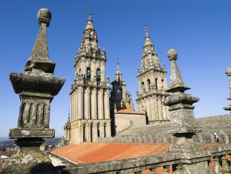 SPAIN - OCTOBER 19  Cathedral of Santiago de Compostela on October 19, 2008 in Santiago de Compostela, La Coruna  Photo taken on the roof of the cathedral, a restricted area