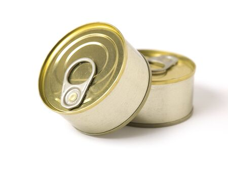 conserved: Two conserved cans on white background.