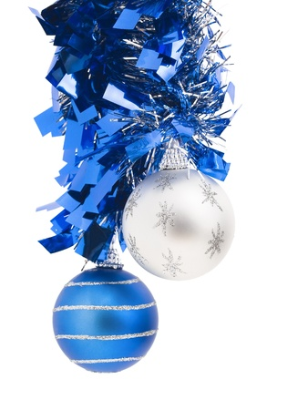 Two christmas balls on white background photo