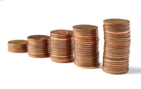 five cents: Five stacks of coins 5-cent increase in height and isolated on white background