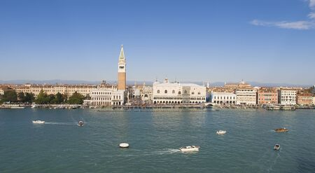 campanille: Cityscape of Venice in a sunny day.  Stock Photo