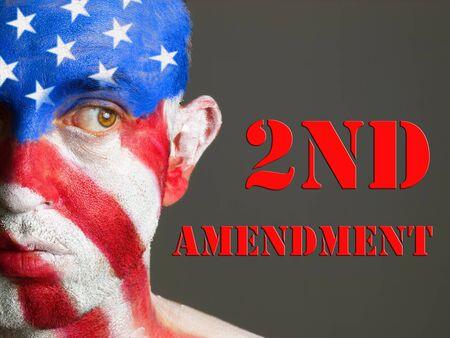amendment: Hombre con la cara pintada con la bandera de EE.UU. Segunda Enmienda concepto expresi�n