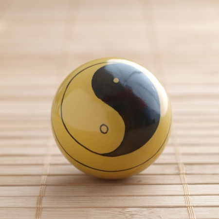 One baoding ball with the yin yang symbol in square format Stock Photo - 17112418