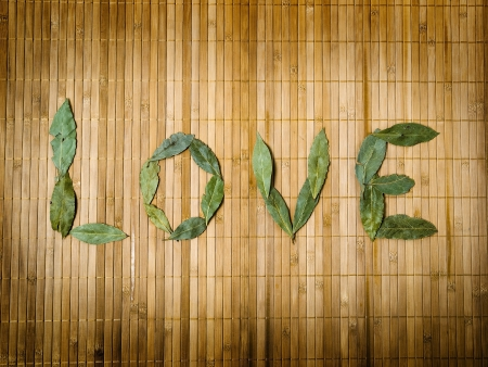 Word love written with leaves on bamboo background