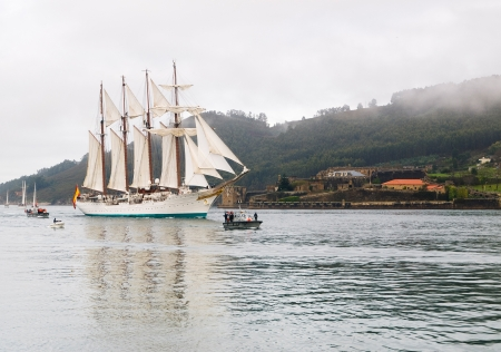 FERROL, SPAIN - FEBRUARY 15  Spanish Navy Training Ship, Juan Sebastian de Elcano on February 15 , 2013, in Ferrol, Spain  This is the training ship of spanish army and is entering at Ferrol estuary