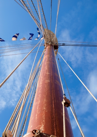 furled: Mast detail of a spanish tall ship