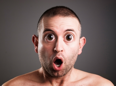 Caucasian man with surprised expression photo