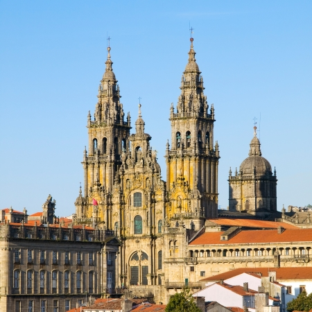 SANTIAGO DE COMPOSTELA, SPAIN - MARCH 21   Cathedral of Santiago de Compostela on 21 march 2009 in Santiago de Compostela, La Coruna Cathedral of Santiago de Compostela is a temple of Catholic worship
