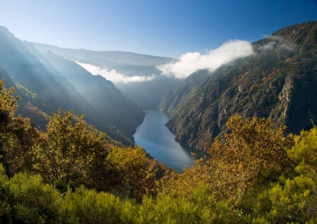 Sil river canyon in Orense, Spain  Beautiful nature place located in Galicia, Spain