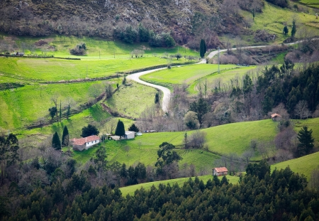 Little valley in Asturias, Spain  The photo shows a beautiful place in nature