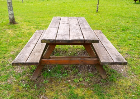 Table and benchs in a park  An outdoor scene