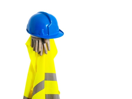 reflective vest: Reflective vest, helmet and safety gloves isolated on white background  A safety equipment