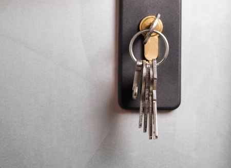 color key: Keys stuck in a lock  The photo shows a macro detail Stock Photo