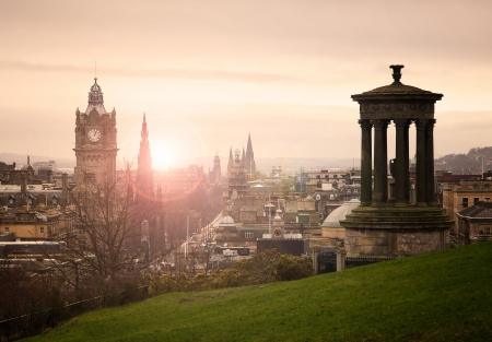 View of Edinburgh city center from Calton Hill photo