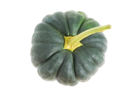 overhead shot: Green pumpkin in an overhead shot and isolated on white background Stock Photo