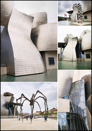 frank gehry: BILBAO, SPAIN-JULY 19  The Guggenheim Museum in Bilbao, Spain, on July 19, 2011  The Guggenheim is a museum of modern and contemporary art designed by Canadian-American architect Frank Gehry  This is a collage of different images Editorial