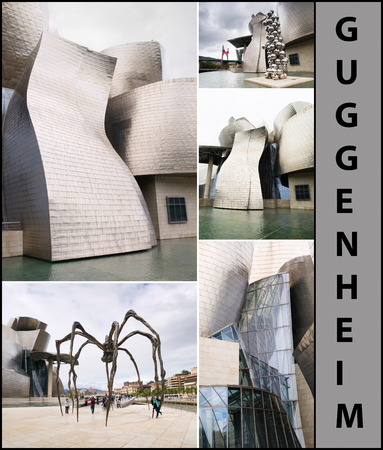 BILBAO, SPAIN-JULY 19  The Guggenheim Museum in Bilbao, Spain, on July 19, 2011  The Guggenheim is a museum of modern and contemporary art designed by Canadian-American architect Frank Gehry  This is a collage of different images