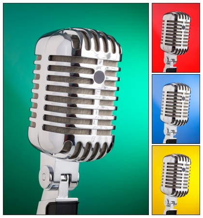 Collage of microphones with different colored backgrounds in square composition photo