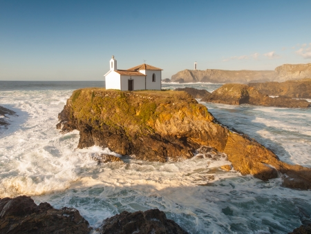 Little chapel in Galician coast  This chapel is located in Meiras, Galicia, Spain  This chapel is called Virxe do Porto  Stock Photo