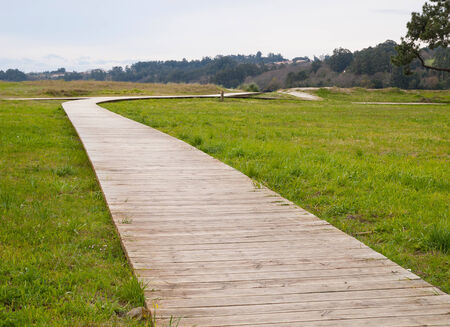 gangway: Gangway in a park. Photo is taken in Cabanas, Galicia, Spain Stock Photo