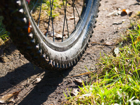Mountain bike wheel detail in nature photo