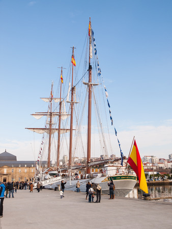 FERROL, SPAIN - FEBRUARY 16: Spanish Navy Training Ship, Juan Sebastian de Elcano on February 16 , 2013, in Ferrol, Spain. This is the training ship of spanish army and is docked at the dock.