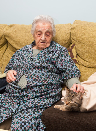 Elderly woman stroking her cat inside home. photo