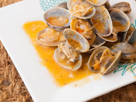 almejas: Clams cooked in the recipe almejas a la marinera background in a studio shot