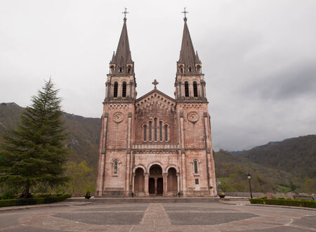 covadonga: Basilica of Our Lady of Battles, Covadonga, Asturias, Spain.