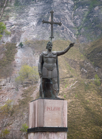 covadonga: Ancient King Pelayo sculpture at Covadonga in Asturias Spain