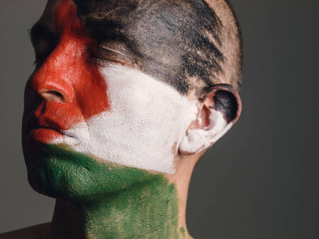 Man with his face painted with Palestinian flag. The mans eyes closed and looking sideways. photo