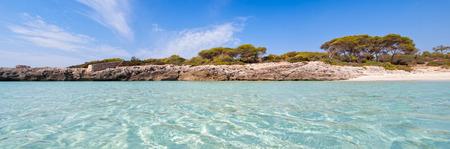 Panoramic view of cala Talaier in Menorca island, Spain.