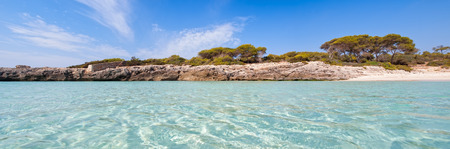 Panoramic view of cala Talaier in Menorca island, Spain.