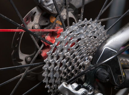 sprockets: Cassette sprockets of a bicycle in a studio shot