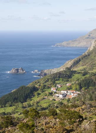spanish landscapes: View of San Andres de Teixido, a small and famous village located in the galician coast.